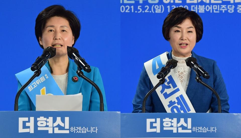 더불어민주당 최고위원에 당선된 백혜련(왼쪽), 전혜숙 의원. 사진=국회사진기자단