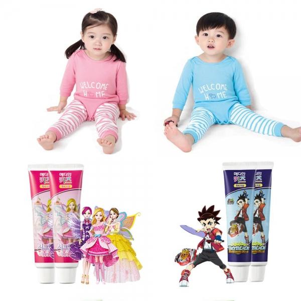 '분홍색은 여아, 파란색은 남아' 영유아용품 구분은 성차별 편견을 심어줄 수 있으니 개선이 필요하다는 인권위의 결정이 나왔다. (왼쪽 위부터) BYC 라미 유아동 내의 제품, 아모레퍼시픽 메디안 키즈 양치 제품.  ⓒBYC, 아모레퍼시픽