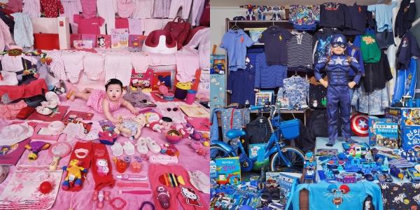 '분홍색은 여아, 파란색은 남아'. 차별이라는 지적이 계속돼도 시장의 변화는 더디다. 사진은 2005년부터 윤정미 작가가 작업해온 연작 '핑크 & 블루 프로젝트 (The Pink & Blue Project)'. (왼쪽부터) 핑크 프로젝트-지원이와 지원이의 핑크색 물건들, 서울, 한국, 라이트젯 프린트, 2014 / 블루 프로젝트-경진이와 경진이의 파란색 물건들, 서울, 한국, 라이트젯 프린트, 2017. ⓒ윤정미 작가