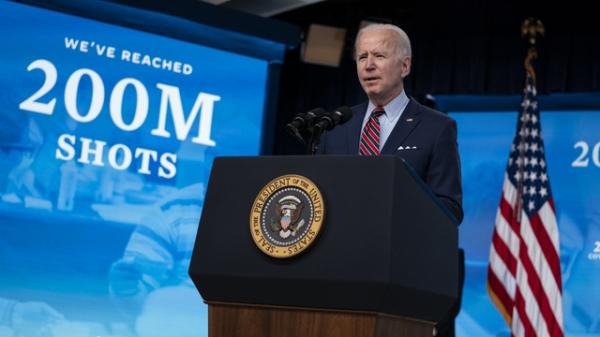 조 바이든 미국 대통령 코로나19 백신 2억 회 접종 기자회견 ⓒAP/뉴시스