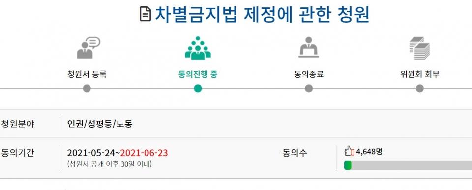 동아제약 채용 성차별 피해자 A씨가 국민동의청원에 올린 '차별금지법 제정에 관한 청원'.