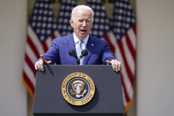 조 바이든 미국 대통령이 8일(현지시간) 백악관 로즈가든에서 총기폭력 방지 연설을 하고 있다. ⓒAP/뉴시스·여성신문