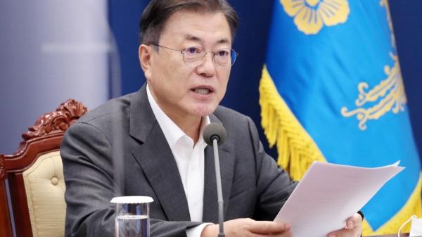 문재인 대통령이 17일 오후 청와대 여민관에서 열린 수석보좌관회의에 참석해 발언을 하고 있다. ⓒ뉴시스