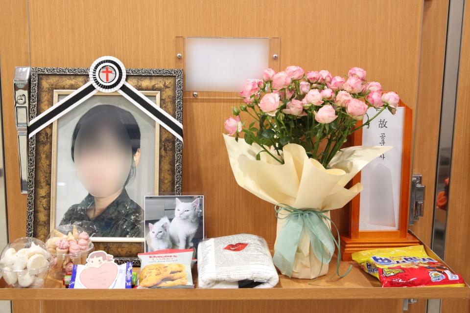 3일 경기도 성남시 국군수도병원 장례식장 영현실에 고 이모 공군 중사의 영정사진이 놓여 있다. ⓒ홍수형 기자