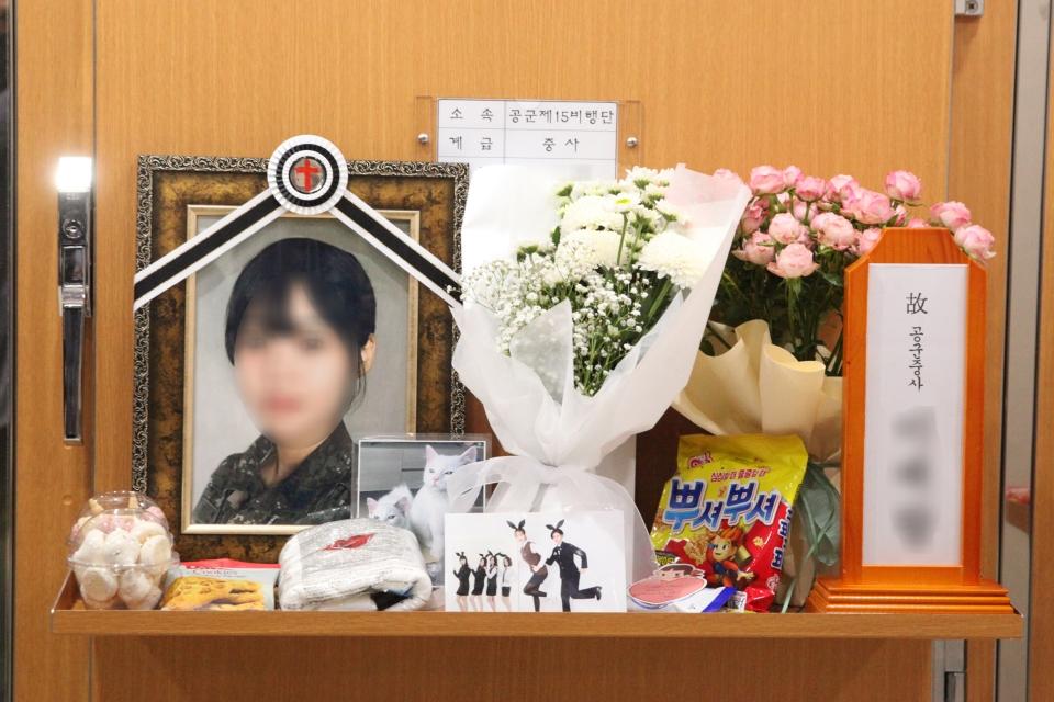 3일 경기도 성남시 국군수도병원 장례식장 영현실에 고 이 모 중사의 영정사진이 놓여 있다. ⓒ홍수형 기자