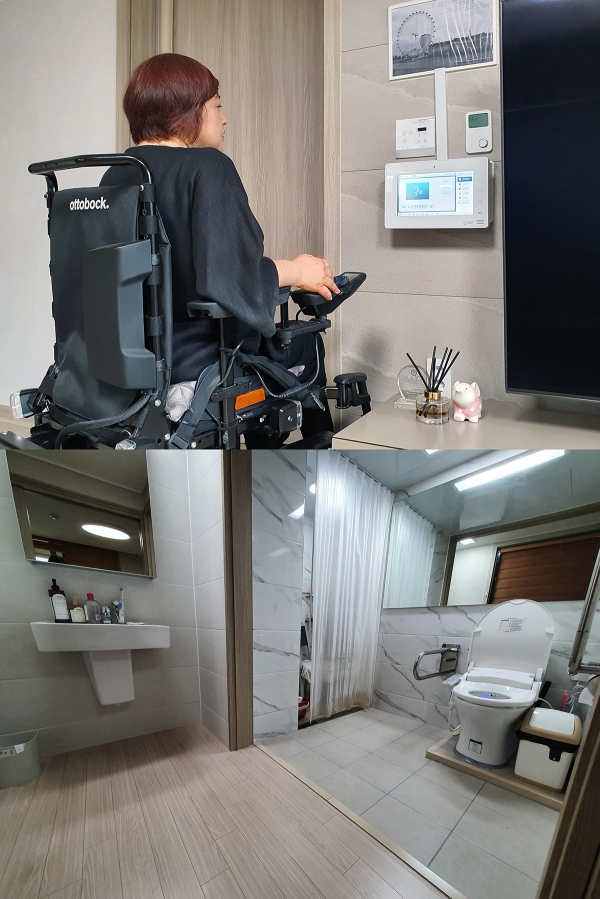 김미연 유엔장애인권리위원회 부위원장이 8일 자택인 경기도 남양주 '위스테이 별내' 아파트에서 인터폰 화면을 확인하고 있다. 김 부위원장이 직접 설계부터 참여했다. 인터폰 높이, 화장실 설계도 휠체어 이용자의 신체 조건에 맞췄다. ⓒ여성신문