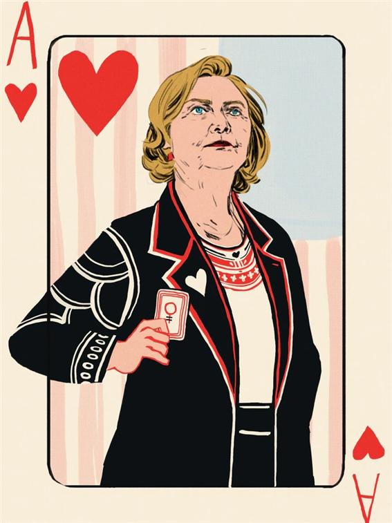 도널드 트럼프의 여성카드에 대한 공격 발언을 듣고 Zach Wahls와 Zebby Wahls는 선구자적인 미국 여성들을 기리는 카드 한 벌을 만드는 프로젝트를 진행했고, 힐러리 클린턴을 에이스 카드로 선택했다(Cockburn 2016)