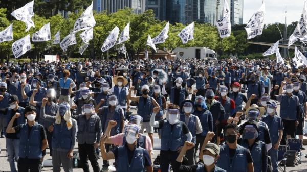 전국택배노동조합 상경투쟁 ⓒ뉴시스