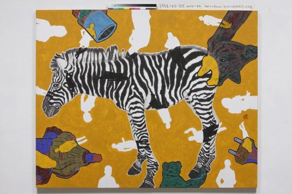 한지에 수묵채색 및 아크릴, 130×162cm, 2010 ⓒ허진
