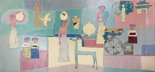 김환기(1913-1974),여인들과 항아리, 1950년대, 캔버스에 유채, 281.5x567cm. ⓒ(재)환기재단·환기미술관 Whanki Foundation·Whanki Museum