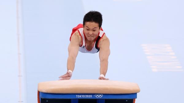신재환이 2일 일본 도쿄 아리아케 체조경기장에서 열린 '2020 도쿄올림픽' 남자 도마 결승에서 연기를 펼치고 있다. ⓒ뉴시스