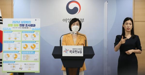 김경선 여성가족부 차관이 5일(목) 오전 정부서울청사에서 「상장법인 성별 임원현황 조사 결과」를 발표하고 있다.  ⓒ여성가족부
