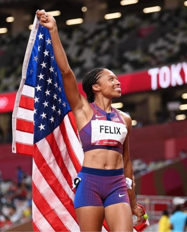 미국여자 육상 앨리슨 펠릭스(35) 선수. 2018년 출산 후 복귀한 올림픽 무대에서 여자 육상 400m 동메달, 여자 4x400m 계주 금메달을합쳐 올림픽 메달 총 11개 대기록을 썼다.  ⓒ확인중
