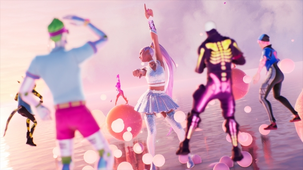 지난 6일부터(미국 현지시간) 인기 3D 온라인 게임 '포트나이트(Fortnite)' 안에서 열린 아리아나 그란데의 콘서트 장면. 게임 이용자들도 각자의 아바타로 접속해 공연을 즐겼다.  ⓒEpic Games