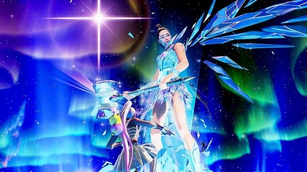 지난 6일부터(미국 현지시간) 인기 3D 온라인 게임 '포트나이트(Fortnite)' 안에서 열린 아리아나 그란데의 콘서트 장면. 이용자들은 스타의 옷이나 장신구 아이템을 구매해 자신의 아바타에 입힐 수도 있다. ⓒEpic Games
