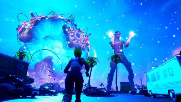 2020년 힙합 가수 트래비스 스캇의 포트나이트 속 가상 공연. 접속자 수 약 2800만명을 기록했고, 유료 아이템 판매로 2000만 달러(약 235억원)를 벌어들였다.  ⓒEpic Games