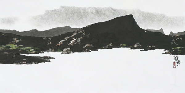 '섬 이야기'(110.2곱하기 53cm, 한지에 수묵담채, 2012)