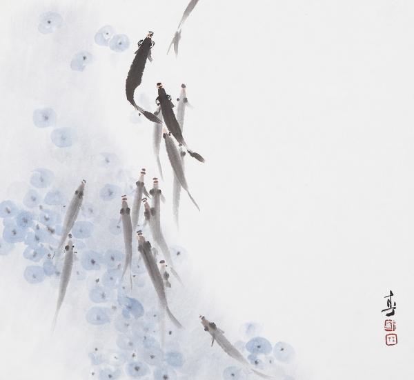'유희'(38곱하기 35cm, 한지에 수묵담채, 2012)