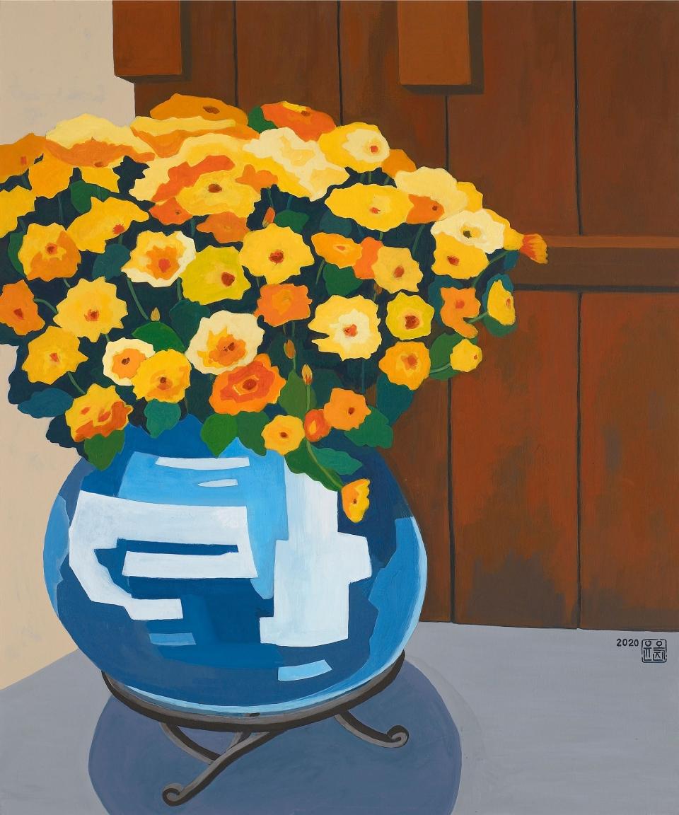 꽃이야기(60.6×72.7cm, 캔버스에 아크릴, 2020) ⓒ윤옥진