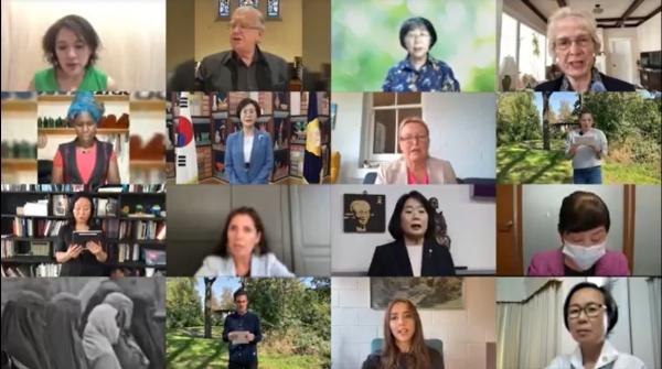 8개국 15명의 국회의원, 시민사회 활동가들이 '아프가니스탄 여성 인권 보장을 위한 공동 선언문'을 발표하는 모습. 사지=영상 캡쳐