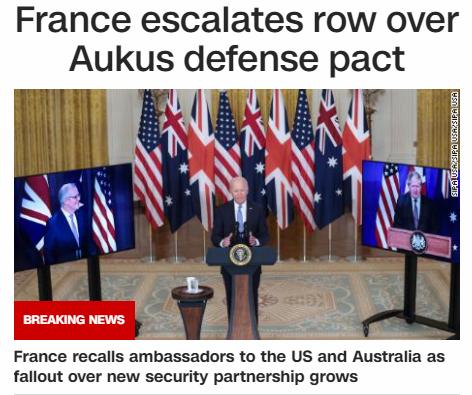 '오커스' 출범 직후 프랑스가 주미 대사를 소환했다고 미국의 CNN이 보도했다 ⓒCNN 홈페이지 갈무리