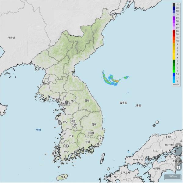 추분인 23일 전국이 맑고 화창한 가을날씨를 보일 것으로 예보됐다. 오전 기상청 레이더로 촬영한 한반도 ⓒ기상청