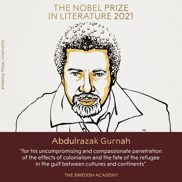 탄자니아 출신 소설가 압둘라자크 구르나(73)가 2021년 노벨문학상을 받았다.  ⓒ노벨상위원회 공식 트위터 캡처