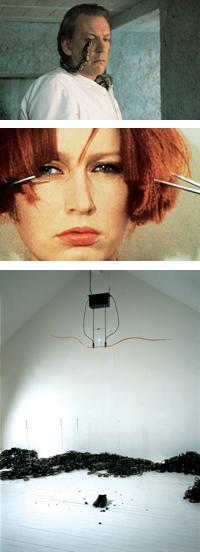 맨 위부터 영화 버스트의 침실(1990), 두 개의 가위로 동시에 머리카락 자르기(1974~75), 시간은 흐른다(1990~91)