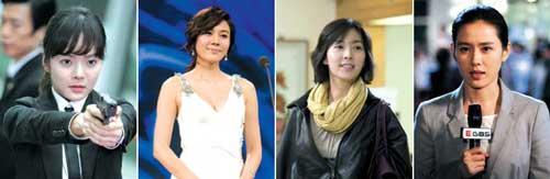 전문직 여성을 다룬 드라마가 방송가의 새 트렌드가 되고 있다. 왼쪽부터 '강적들'의 여성경호원, '온에어'의 연예인과 드라마 작가, '스포트라이트'의 방송 기자로 등장한 여배우들의 모습.
