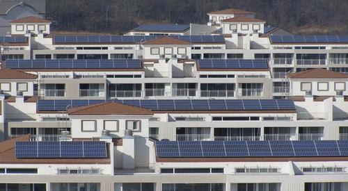'여성이 살기 좋은 도시 만들기'를 위한 대안으로 에너지 절약 건물이 떠오르고 있다 사진은 태양광 발전 원리를 이용해 건설한 '목포 옥암 푸르지오'. ⓒ대우건설