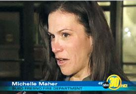 법정을 나오면서 언론의 인터뷰에 응하는 미셸 메이허. ⓒABC 뉴스 방송 화면 캡처