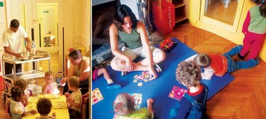 프랑스는 가정과 사회활동 병행을 강조하는 정책으로 상당한 효과를 거뒀다. 파리 시청 내 관용 아파트를 개조한 공공보육원에서 놀고 있는 아이들(왼쪽)과 보모가 공공보육원에서 아이들을 보살피는 모습. ⓒ여성신문 DB