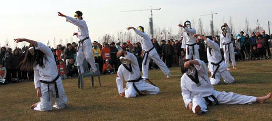 한국태권도시범단의 축하공연 모습.
