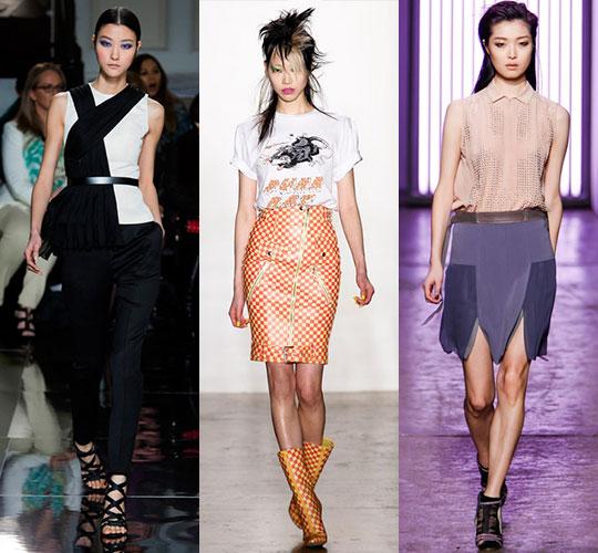 뉴욕 패션위크에서 주목할 신인에 선정된 모델 박지혜, 수주, 김성희(왼쪽부터). 지난 2월 열린 뉴욕 패션위크에서 제이슨 우, 제레미 스캇, 레베카 테일러의 올 가을·겨울 의상을 입고 무대에 섰다. ⓒ에스팀 제공