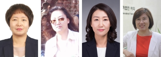 (왼쪽 부터)이경숙 GS건설 상무(산업), 김지현 가천대 교수(교육), 김미화 한국에너지기술평가원 선임연구원(연구), 이경란 특허법인 이지 대표변리사(공공 및 지원) ⓒ한국여성공학기술인협회