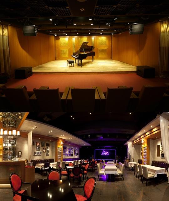 (위) 마리아칼라스홀, (아래) 공연장 내에 있는 스테이크하우스 '카페엠'. ⓒ마리아칼라스홀 제공
