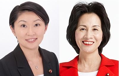 아베 내각에서 불명예 퇴진 후 이번 선거로 부활한 오부치 유코(왼쪽)와 마쓰시마 미도리. 출처 : 자민당 웹사이트