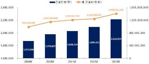 골절 환자가 2009부터 2013년까지 꾸준히 증가하고 있다. ⓒ건강보험심사평가원