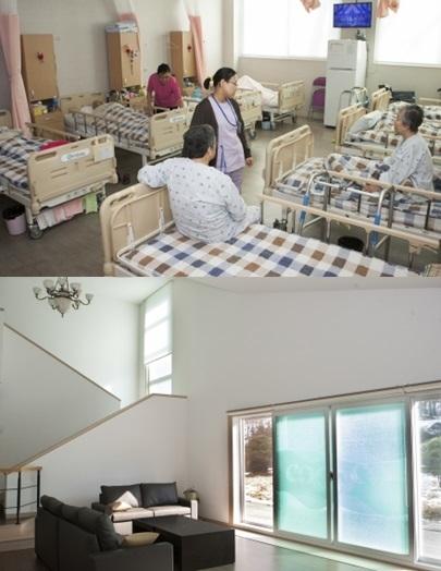 우리요양병원 내 입원실, 별관 내 휴게실(왼쪽부터). ⓒ이정실 여성신문 사진기자
