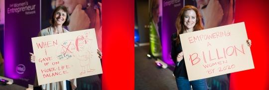 델이 후원한 여성 기업가 네트워크 2014년 행사 중 참가자들의 피켓 이벤트. ⓒdell.com