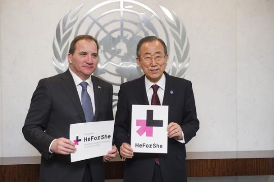 히포시 캠페인에 참여한 스테판 뢰프벤 스웨덴 총리(왼쪽)와 반기문 유엔 사무총장 ⓒUN Women