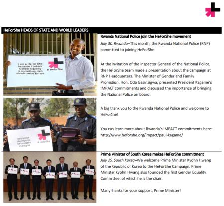 유엔여성은 월간 『히포시(HeForShe)』 7월호에 황교안 국무총리와 국무위원들이 히포시 지지를 선언한 사진과 기사를 싣고 황 총리의 히포시 참여에 감사를 표했다(하단). ⓒ여성신문