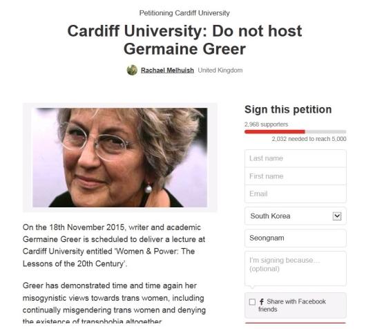 저메인 그리어의 특강을 취소해 달라고 요청하는 카디프대 학생들의 인터넷 청원운동 화면. ⓒchange.org