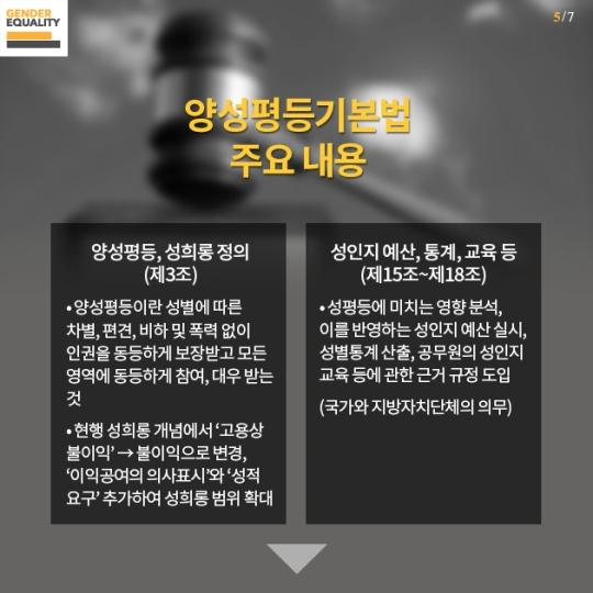 한국양성평등교육진흥원이 지난 6월 30일 공개한 양성평등기본법 카드뉴스
