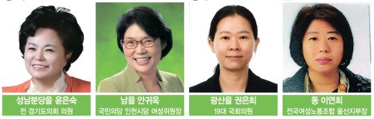 경기 성남분당을 윤은숙, 인천 남을 안귀옥, 광주 광산을 권은희, 울산동 이연희(이상 국민의당).