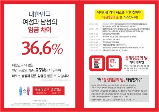 '동일 임금의 날' 제정을 위한 캠페인 홍보물. 한국 여성은 연간 근로일 기준 95일 더 일해야 남성과 같은 임금을 받을 수 있다.