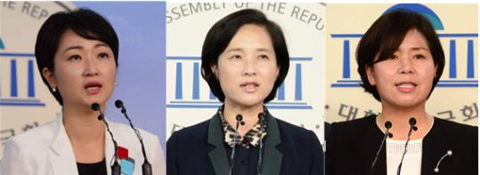 (왼쪽부터)더불어민주당 이언주 ,유은혜 의원, 양향자 광주서을 지역위원장 ⓒ뉴시스·여성신문