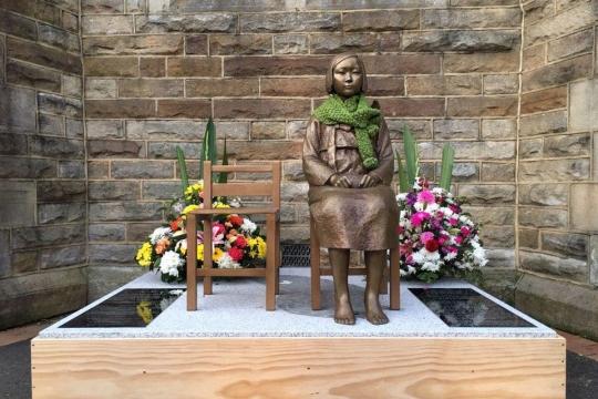 호주 '평화의 소녀상'은 시드니 한인회관에서 제막식을 한 후 근처 애쉬필드 교회로 옮겨졌다. ⓒ윤미향 정대협 대표 페이스북