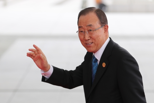 반기문 유엔 사무총장이 지난 4일(현지시간) 주요20개국 (G20) 정상회의가 열리는 중국 항저우국제전시장에 도착하고 있다. ⓒ뉴시스‧여성신문