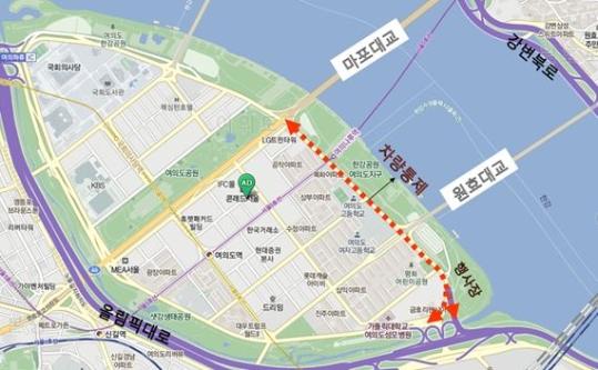 주말인 8~9일 여의도 불꽃축제 등 서울 도심에서 열리는 각종 문화행사로 인해 행사구간 교통이 통제된다. ⓒ서울시